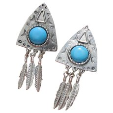 Big Vintage Faux Turquoise Native American Dangle Feather Pierced Earrings