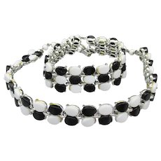 Vintage Mid Century Modern Black & White Lucite Necklace, Bracelet Set