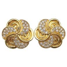 Designer Signed ST. JOHN Rhinestone Vintage Swirl Button Earrings