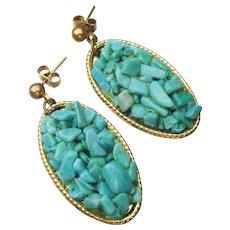1970's Vintage Turquoise Chip Dangle Pierced Earrings