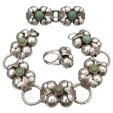 Magnificent 1920's Mexican 980 Silver & Turquoise Bracelet, Pin, Ring Set