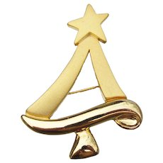 Signed TARA Vintage Modernist Christmas Tree Pin