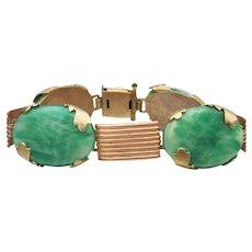 Fabulous! Dated 1926 Art Deco Copper & Brass Faux Jade Peking Glass Bracelet