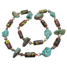 Long, Large Chunky Artisan Antique African Trade Bead, Sterling Silver & Turquoise Necklace