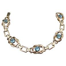 Vintage 1940's Signed STURDY 12kt Gold Filled Faux Blue Topaz Rhinestone Bracelet