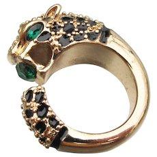 Leopard CAT Head Emerald Green Rhinestone & Enamel Vintage Ring, Size 6