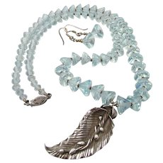 Vintage Faux Aquamarine Crystal Bead with Fine Silver Leaf Pendant Necklace & Earrings Set