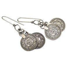 Sterling Silver Double Dangle Vintage COINS Medallion Pierced Earrings