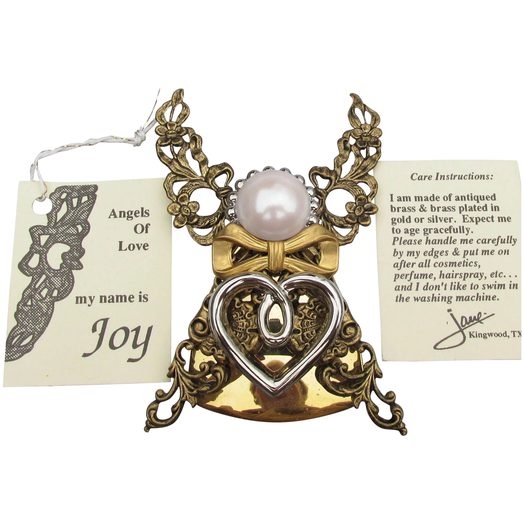 Jane Davis Brooch Pin 1.5 Vintage Angels of Love Signed AOL Heart Engraved Angel Jewelry Religious Biblical Collectible Jewelry Jewellery