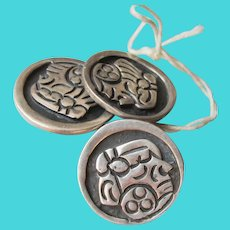 3 Vintage Taxco Mexico Sterling Silver Aztec Face Mask Buttons, Eagle 3 Mark