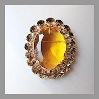 Large Vintage Amber Rhinestone Pin or Pendant
