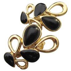 Signed TRIFARI 1980's Vintage Black Teardrop Clip Earrings