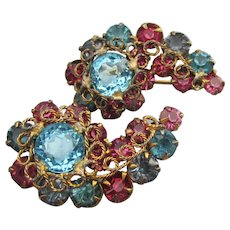Pair Early Hollycraft Pink & Blue Rhinestone Comma Pins