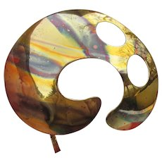 Artist Signed Large Modernist Handmade Brass Pin