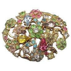 1960's Vintage Multi-Color Pave' Rhinestone Flower Bouquet Pin