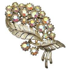 Signed CORO Pegasus Aurora Borealis Rhinestone Flower Pin