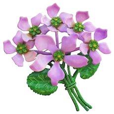 Vintage 1960's MOD Enamel Flower Bouquet Pin