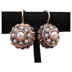Antiqued Rose Gold Vermeil Sterling Silver Cultured Pearl Vintage Lever Back Earrings