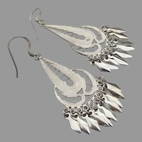 Sterling Silver Filigree Dangle Pierced Earrings