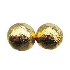 Designer Barrera Hammered Gold Tone Dome Vintage Clip Earrings