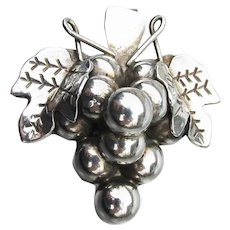 Taxco Mexico Vintage Sterling Silver GRAPE Bunch Pin or Pendant