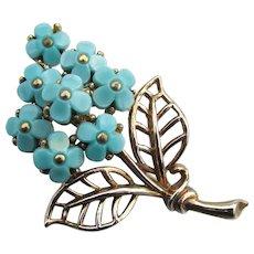 Crown TRIFARI 1950 Vintage Philippe Blue Flower Bouquet Pin, Pat Pend.
