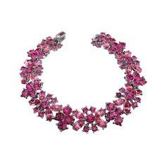 Crown TRIFARI Vintage Signed Pink Rhinestone Flower Bracelet