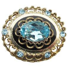 1950's Vintage CORO Pegasus Blue Rhinestone Pin