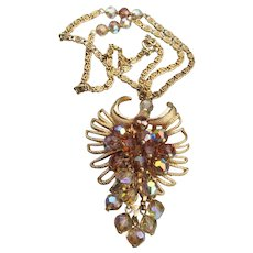 Spectacular Cascading Amber AB Crystal Bead Vintage Necklace