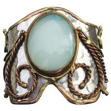 Huge Hammered Vintage Blue Stone Wonder Woman Cuff Bracelet