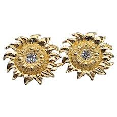 Vintage SUNFLOWER Rhinestone Button Pierced Earrings