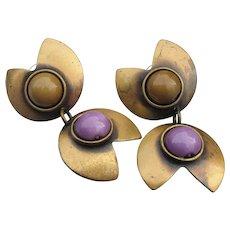 Modernist Cabochon Flower Dangle Brass Earrings