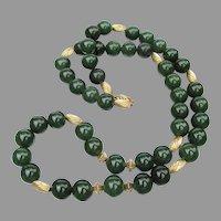 "14k Gold & Genuine Jade Bead 23"" Long Vintage Necklace"