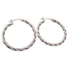 Large Twisted Sterling Silver Hoop Earrings
