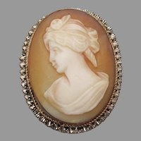 Edwardian Vintage Carved Shell CAMEO Pin, 800 Silver, Brass, Copper, Gold