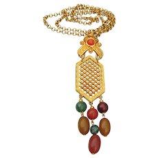 Vintage Long Faux Gemstone Avon Beaded Tassel Necklace