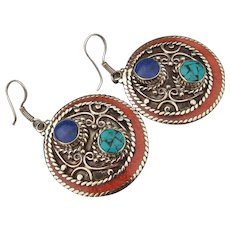 Beauty! Bali Sterling, Turquoise, Coral, Lapis Large Dangle Earrings