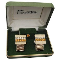 1960's Vintage EXECUTIVE Rhinestone Cufflinks Tie Tack Set, New In Box!