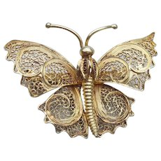 Vintage Gold on 800 Silver Cannetille Filigree Butterfly Brooch Pin