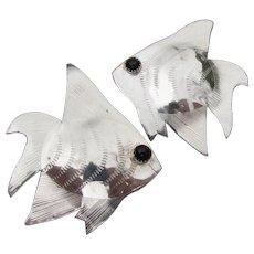 Large Vintage Sterling Silver Angel FISH & Onyx Earrings