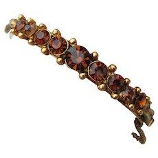 Vintage Hinged Amber Rhinestone Cuff Bracelet