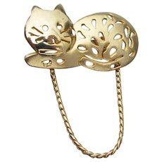 Signed ULTRA CRAFT Kitty Cat Charm Holder Pin