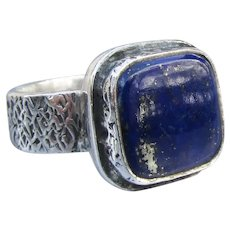 Chunky Sterling Silver Square Lapis Lazuli Ring, Unisex Sz. 9