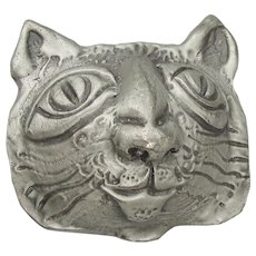 Funky Pewter CAT Head Pin by Don DRUMM