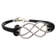 Sterling Silver Braid KNOT & Leather Bracelet, Anchor Charm Tag