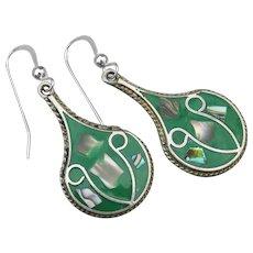 Vintage Mexico Sterling Silver & Alpaca Fat Green Teardrop Abalone Earrings