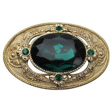 1928 Jewelry Co. Victorian Revival Large Vintage Emerald Rhinestone Pin