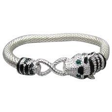 CAT HEAD Rhinestone & Black Enamel Silver Tone Stretch Bracelet