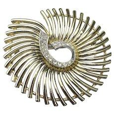 Large Modernist Spiral Rhinestone Pin