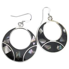 Vintage Mexico Sterling Silver & Alpaca Abalone Shell Hoop Earrings